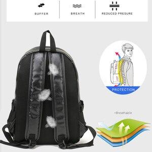 Image 3 - VORMOR mochila escolar de cuero impermeable para hombre, bolso de viaje, informal, de cuero