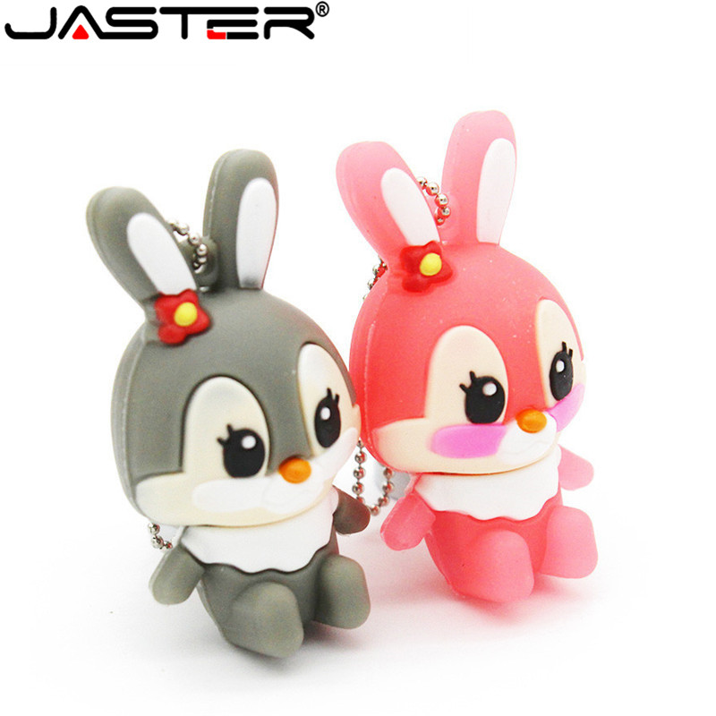 JASTER Lovely Rabbit Usb Flash Drive 8GB 16GB 32GB 64GB   Hang Decorations Memory Stick Pen  For Girl Free Shipping