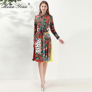 Image 5 - MoaaYina Fashion Designer Set Spring Women Long sleeve Floral Print Shirt Tops+Skirt Elegant Holiday Two piece set