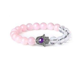 Bracelet Cristal De Roche Et Quartz Rose