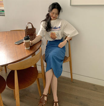 New Girls Summer T-shirt Women Suit Shirt Short Sleeves Tops High Waist Long Solid A Line Skirts Two Piece Suits Sell Separately 1