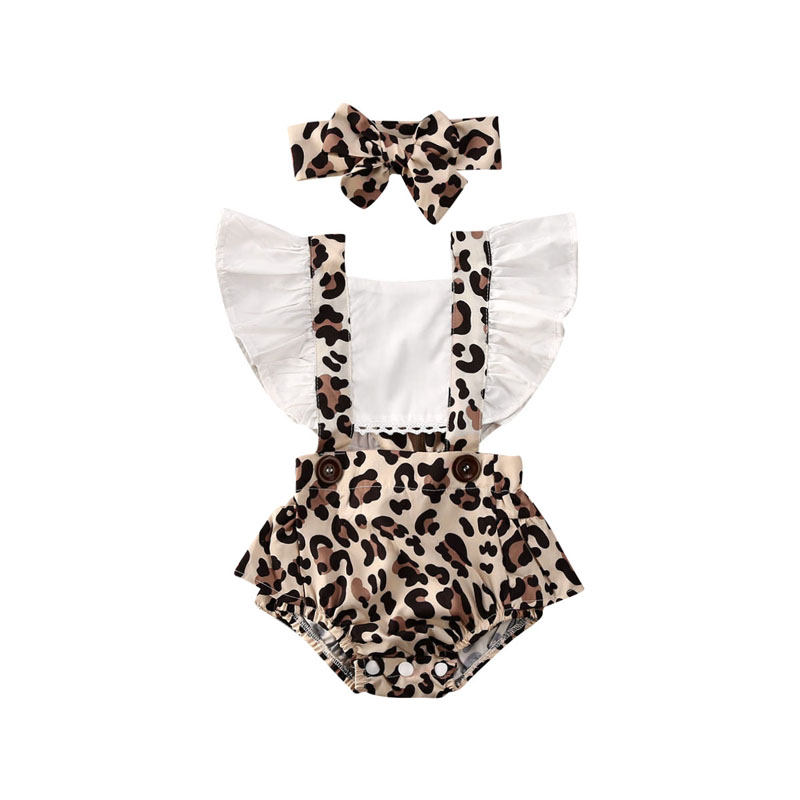 Pudcoco US Stock 0-24M 2PCS Summer Newborn Baby Girl Clothes Set Off Shoulder Leopard Bodysuit Jumpsuit Headband Outfit Set