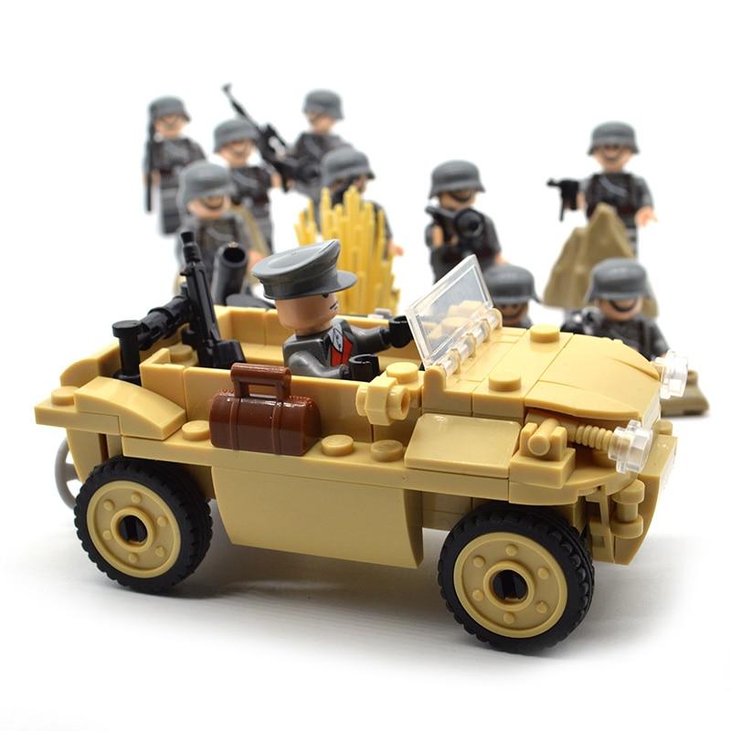 Custom WW2 Military Building Blocks Sets Red Army German US Soviet Gaz-67 Vehicle Construction Kids Toys For Children