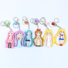 6 Pieces / Set of Cute Sailor Moon Car Key Ring Bell Pendant Moon Hare Hatsune Cartoon Doll Pendant Key Chain Jewelry thailand imports genuine gv new moon key pendant