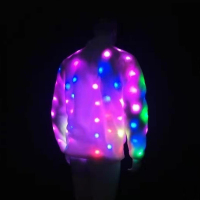 Unique Light Up LED Faux Fur Jacket Coat for Men Funny Men's Stand Collar Faux Fur LED Stage Jacket Coat Plus Size