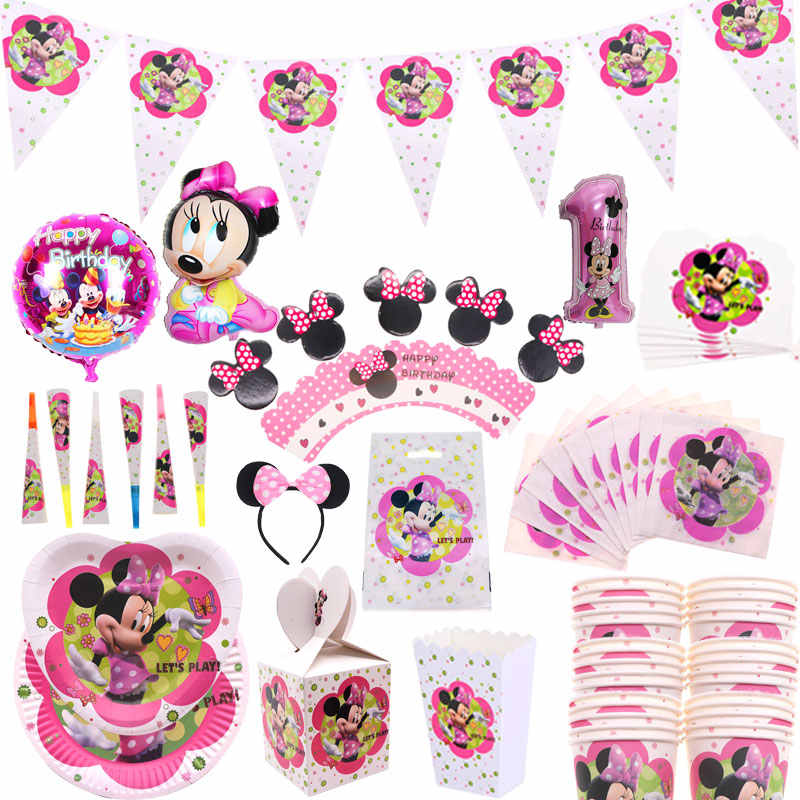 Minnie mouse party supplies one-time package headband insert candle series holiday gift baby shower decoration kids birthday par