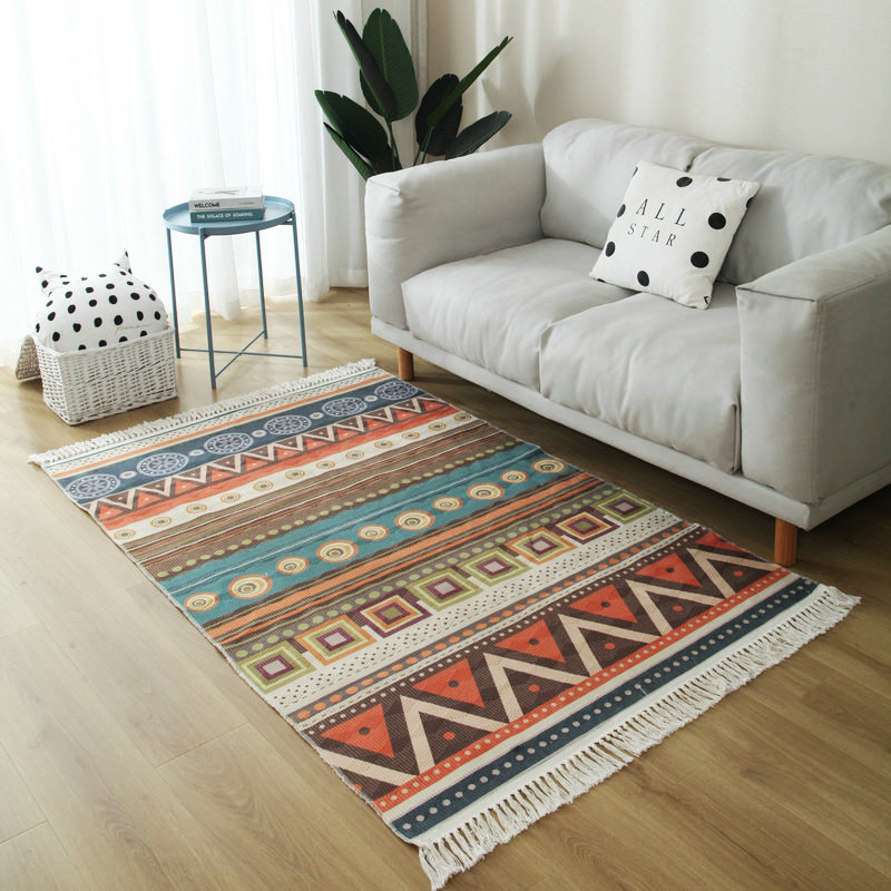 Bohemian Hand Woven Carpet And Rugs For Living Room Geometric Cotton Floor Mat Nordic Morocco Bedroom Carpet With Tassels Home