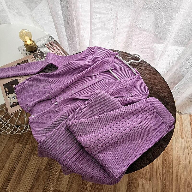 Kintting 3 Piece Set Women 2020 Spring Summer Casual Streetwear Tank Tops+Cardigan+wide Leg Long Pants Purple Gray Sets Female