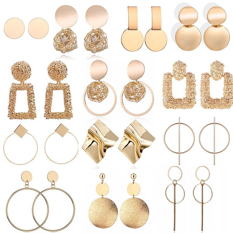 Moda brincos de declaração 2019 grande geométrica brincos redondos para as mulheres pendurado balançar brincos de brincos de brincos de orelha moderno feminino jóias