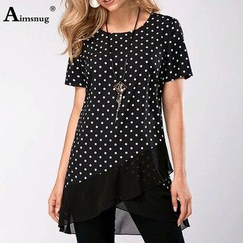 Top Shirt Plus Size 5xl Dot Print T shirt Irregular Round Neck Splice Mesh Short Sleeve 2020 Summer Casual Loose Women Tee Shirt mesh panel plus size girl face t shirt