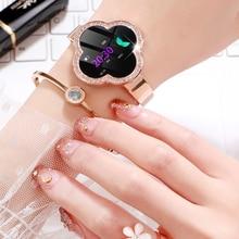 Elegante relógio inteligente feminino telefone rastreador de fitness rosa ouro android relógio de pulso relogio inteligente montre conectar saúde pulseira