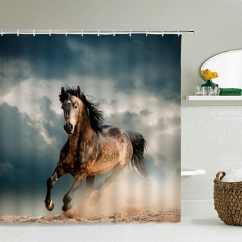 Animals Horse Shower Curtain Polyester Fabric 3d Printing Bathroom Curtain Waterproof With Hook Large Size 240X180 Bath Curtains image