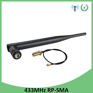 Image 4 - 433 Mhz אנטנת לורה 5dbi RP SMA מחבר עמיד למים 10pcs 433 MHz כיוונית Antena גומי + 21cm SMA זכר/u.FL צם כבל