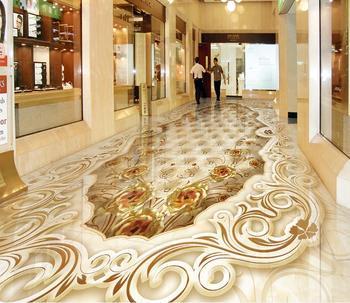 Personalizar papel pintado de pared de pvc piedras 3d suelo Rosa piedra mosaico papel pintado para paredes suelo de vinilo pvc en 3 d