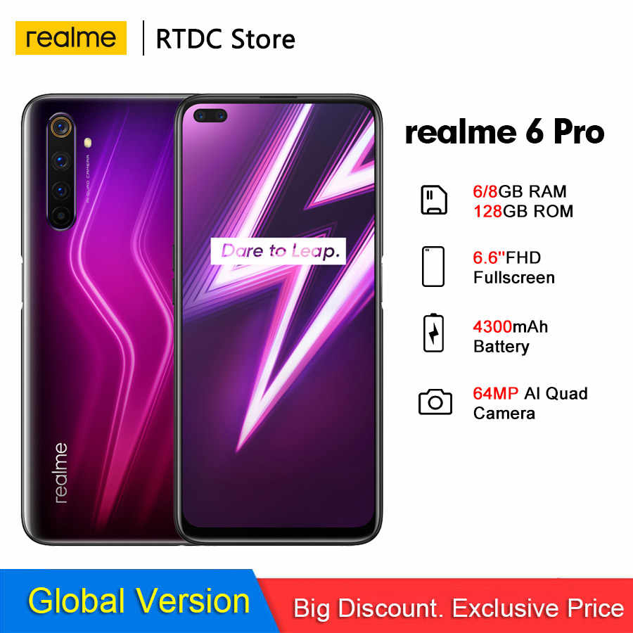 Realme 6 Pro Globale Version 6.6 ''6/8GB 128GB 64MP Cam Snapdragon 720G 90Hz display 30W-Ladung 4200mAh 4G Handy