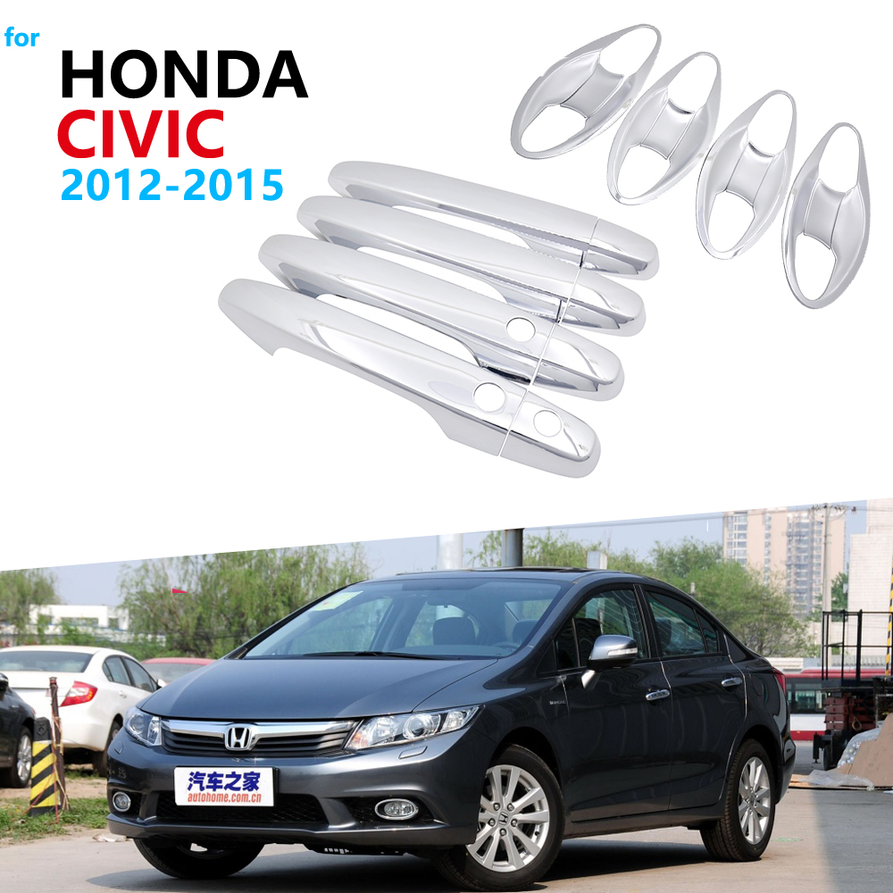 Chrome Exterior Door Handle Cover Trim Set for Honda Civic 2012 2013 2014 2015 MK9 Car Accessories Full Coverage Stickers|Car Stickers| |  - title=