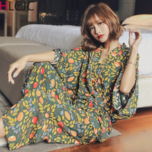 Women Pajamas Fresh Leaves Spring Summer Pijamas Set Ladies Sleep Set Night Kimono Bathroom Women Pyjama Sets Long Pant Set Robe
