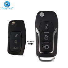OkeyTech พับ 3 ปุ่มแก้ไข Filp รถ REMOTE Key SHELL สำหรับ Ford C MAX S MAX Galaxy Focus Fiesta ecoSport KUGA Escape(China)