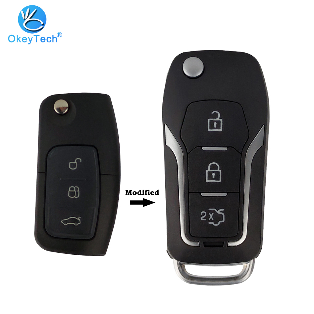 OkeyTech Flip Folding 3 Buttons Modified Filp Car <font><b>Remote</b></font> <font><b>Key</b></font> Shell <font><b>For</b></font> <font><b>Ford</b></font> C Max S Max Galaxy <font><b>Focus</b></font> Fiesta Ecosport Kuga Escape image