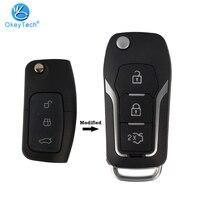 Okeytech  escudo de chave dobrável  dobrável  3 botões  carros  controle remoto  para ford c max s  max  galaxy focus fiesta ecosport kuga escapada
