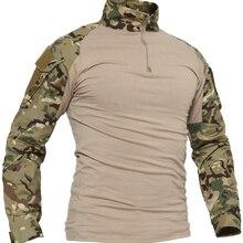 1/4 военные тактические боевые рубашки WOLFONROAD на молнии, Мужская охотничья армейская рубашка, топы в стиле сафари, тренировочные футболки для ...