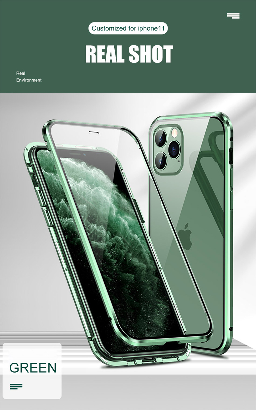 Metal Magnetic Phone Flip Cover With Double-Sided Tempered Glass for iPhone 11 pro max XR XSMAX 7 8 PLUS 19