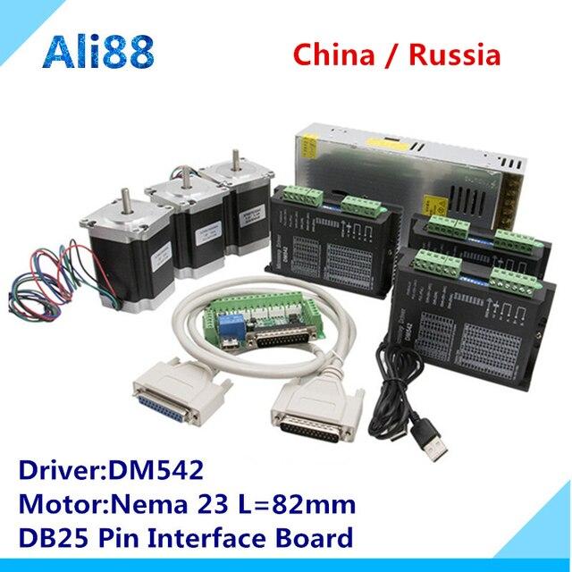 Darmowa dostawa! Router CNC Nema 23 zestaw do silnika krokowego: DM542 serwonapęd + płyta interfejsu MACH3 + 315oz w silniku de passo моторчикк