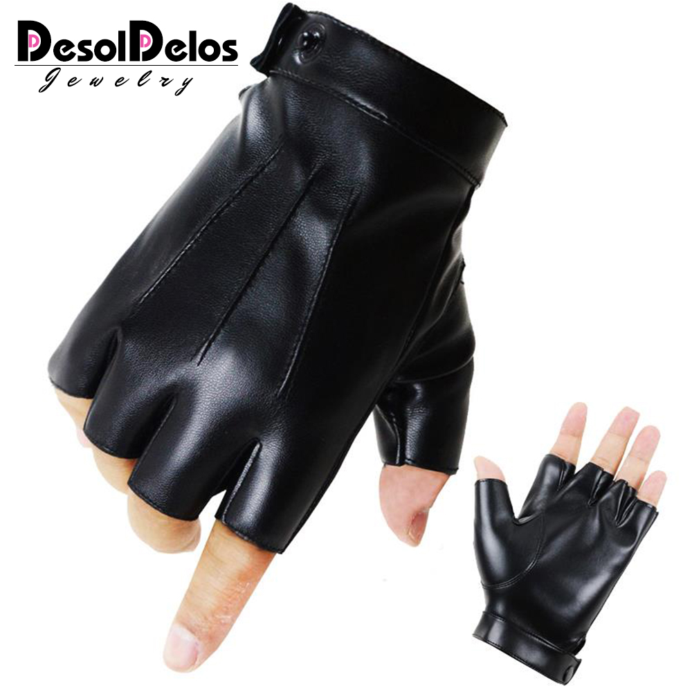 DesolDelos The Latest High-Quality Semi-Finger PU Leather Gloves Men's Thin Section Driving Fingerless Dancing Gloves R017