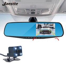 جانسايت سيارة مرآة الرؤية الخلفية للكاميرا جهاز تسجيل فيديو رقمي للسيارات المزدوج عدسة كاميرا التسجيل الخاصة بالسيارات مسجل الفيديو كاميرا...