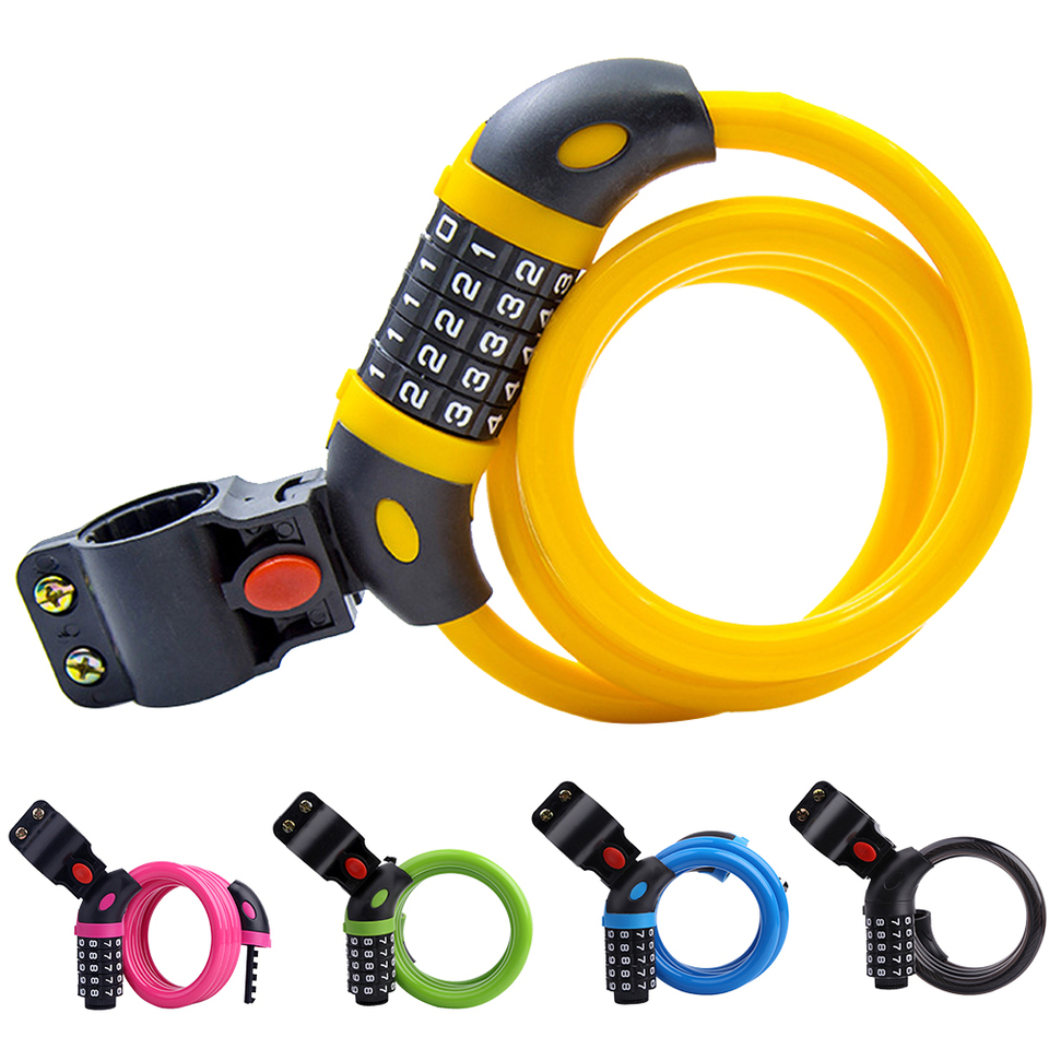 Durable Anti Theft Bicycle Combination Lock Steel Wire Mountain Bike 5 Numbers