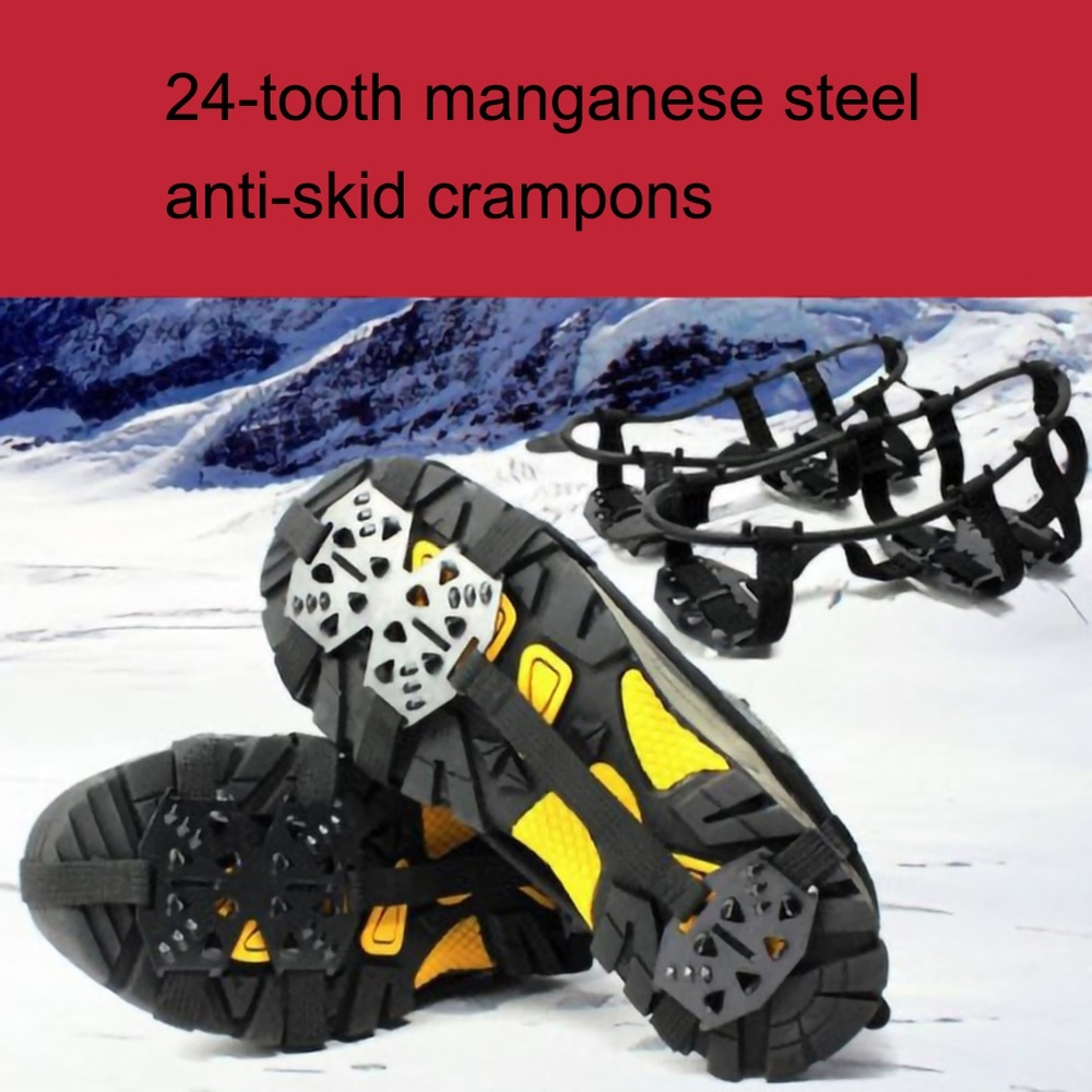 Anti-Skid Shoe Covers Snow Claws Hiking Fishing Shoes Outdoor 24tooth Manganese Steel Crampons Nails Outdoor Climbing Equipments