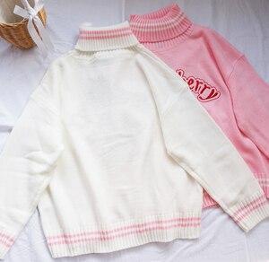 Image 5 - 冬かわいい女性タートルネックセーター原宿かわいいイチゴミルクピンクファムプルジャンパーハイネックホワイトニットセーター