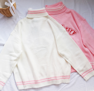 Image 5 - Winter Cute Women Turtleneck Sweater Harajuku Kawaii Strawberry Milk Pink Femme Pull Jumper High Neck White Knitted Sweaters