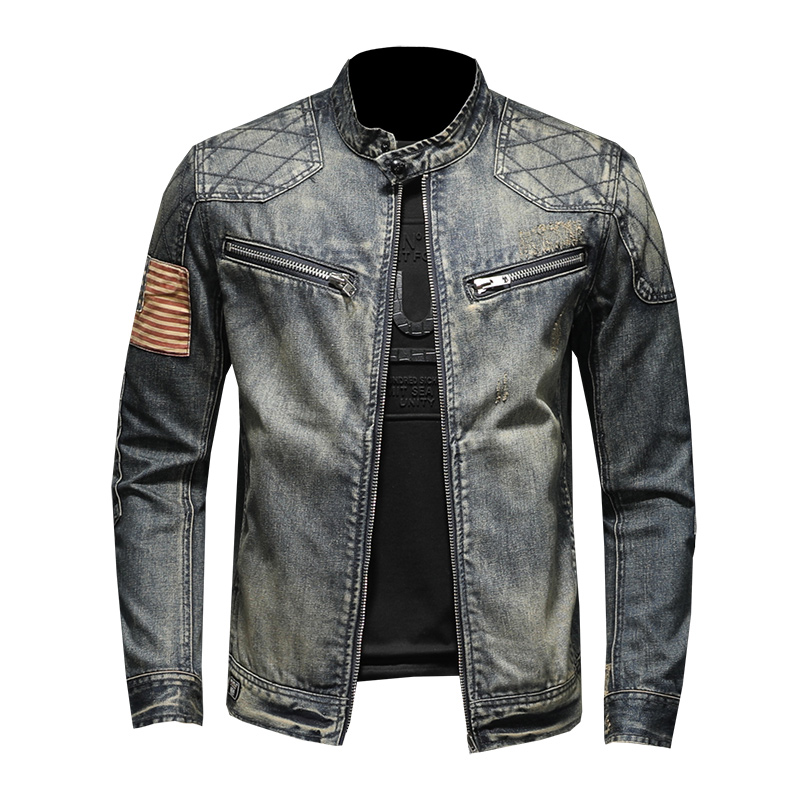 Denim Jacket Jeans Retro Streetwear Mens Biker Zippers With For Man Turn-Down