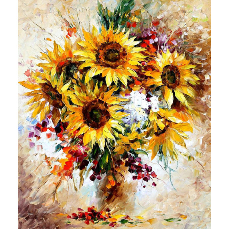 Yellow Sunflower DIY Painting By Numbers Oil Canvas Painting For On The wall Draw Coloring By Numbers Modern Home decor Digital