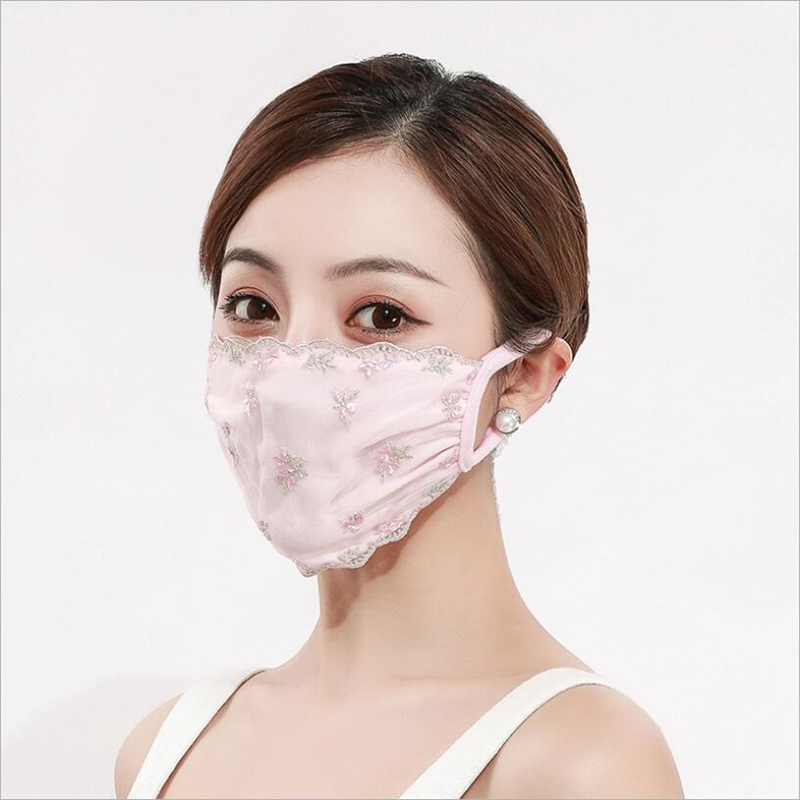 2pcs Women Reusable Respirator Dust Mask Anti Pollution PM2.5 Face Cover Washable Bud Silk Chiffon Mouth Muffle Adjustable Masks