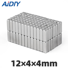 AI DIY 10/20/50Pcs 12 x 4 4mm N35 Neodymium Magnet Super Strong Power Block Square Rare Earth Magnets Rectangular *