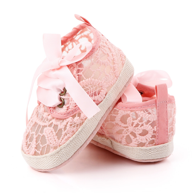 Newborn Baby Girls Lace Mesh Shoes Autumn Lace-Up First Walkers Sneakers Shoes Toddler Breathable Shoes
