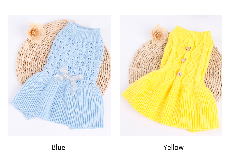 Sweet Pet Dog Sweater Skirt Autumn Winter Dog Dress Cats Sweater Pet Knitted Pullover For Small Dogs Warm Dog Clothes Cats Coat (2)