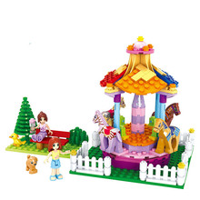 222pcs Girls City Friends Princess Fantasy Carousel Colorful Holidays Building Blocks Sets Kids Toys Compatible 24057
