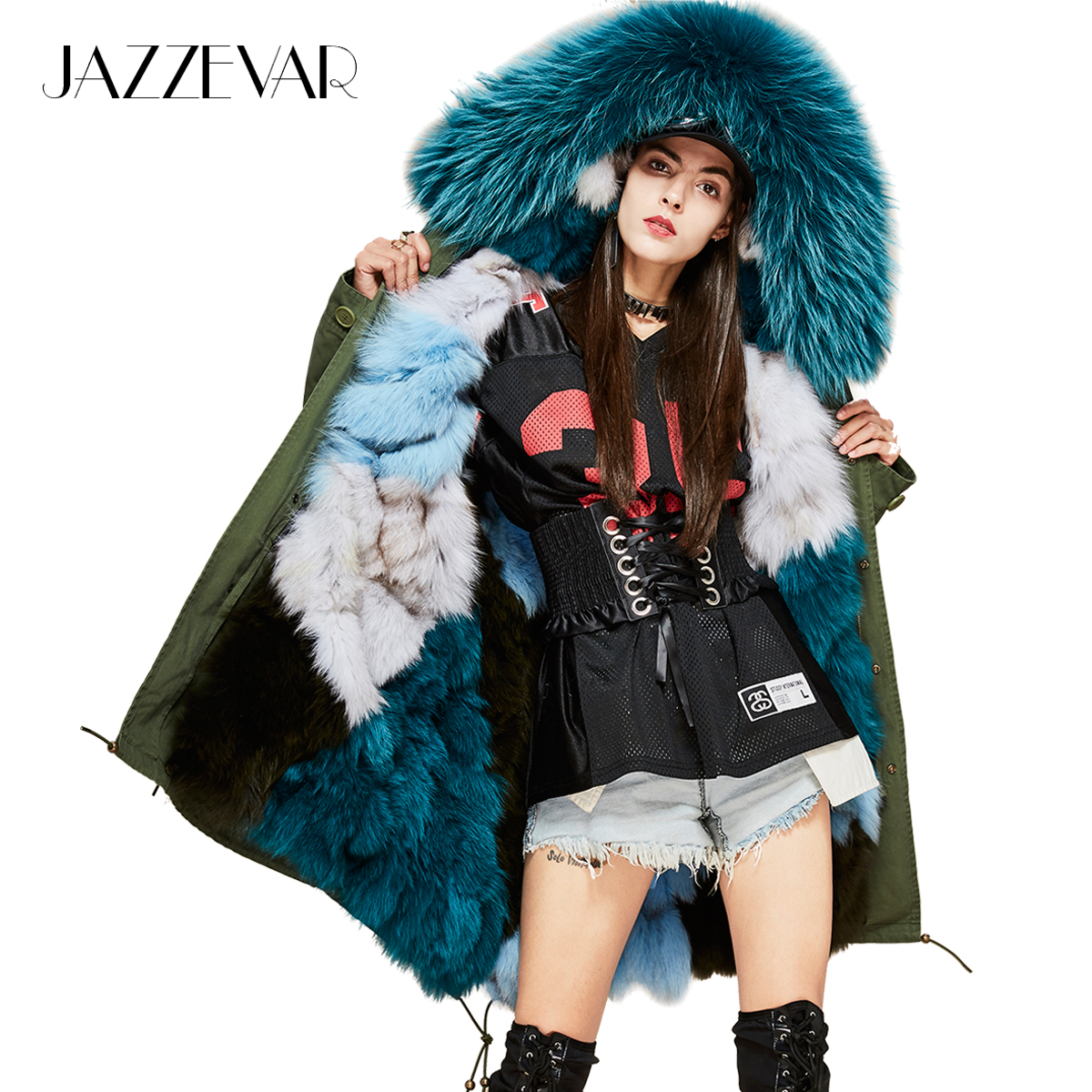 JAZZEVAR 2019 New Woman Luxurious Real Fox Fur Lining Military Parka MIDI Large Raccoon Fur Hooded Coat Outwear Winter Jacket