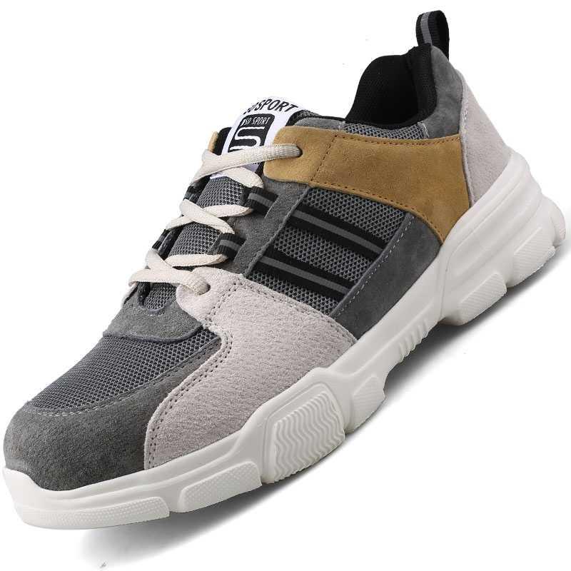 Lederen top koop directe verkoop mannen en vrouwen veiligheid laarzen outdoor ademende mannen schoenen stalen neus slijtvaste werknemers sport
