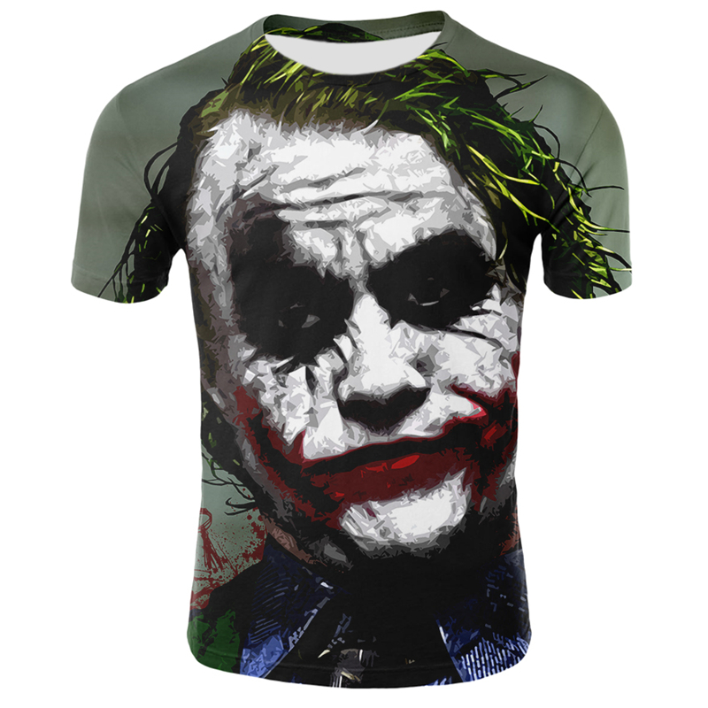 3D Joker T Shirt Men Summer O-neck Short Sleeve Men Joker Face Casual Male Tops Tee Funny 3D Print Clown T Shirt Streetwear