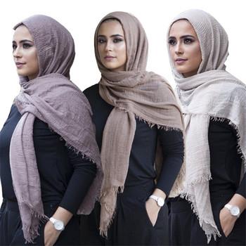 Gorąca sprzedaż muzułmanki marszczone szalik hidżab femme musulman miękkie bawełniane islamskie chusty szale damskie chusty arabskie szale na głowę tanie i dobre opinie Szalik hijabs COTTON Dla dorosłych NONE Tkane muslim hijab scarf Moda 90*180cm about 110g 1pcs
