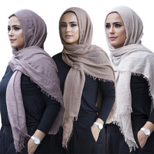 Crinkle Scarf Shawls Hijab Headwrap Arab-Head Musulman Muslim Women Cotton Hot-Sale Ladies
