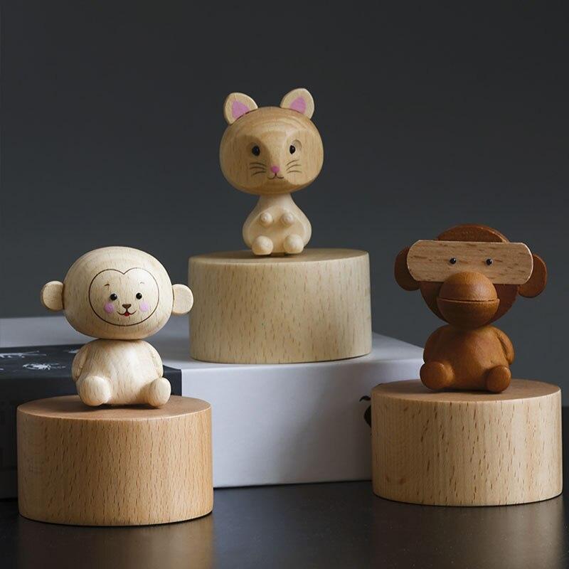 Boîte à musique en bois artisanat en bois créatif cadeaux d'anniversaire Mini mignon animal boîte à musique décoration de la maison ornements