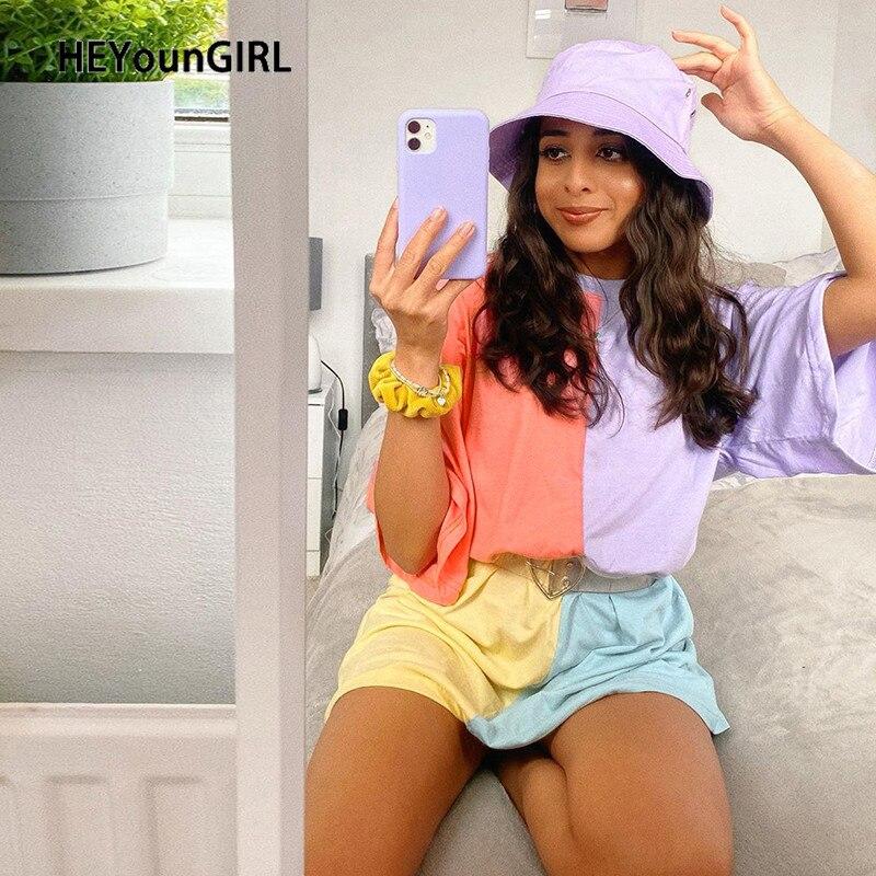 HEYounGIRL Patchwork Colorful Casual Oversize T Shirt Loose Short Sleeve Cotton Tshirt Dress Women Harajuku Summer Streetwear