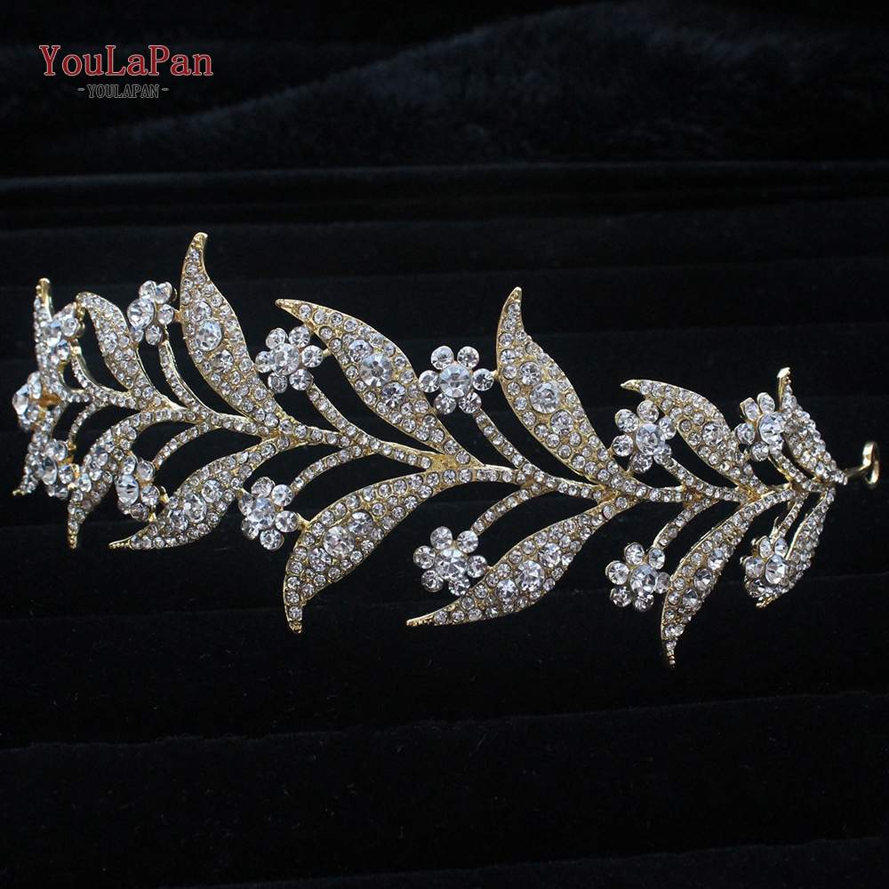 TOPQUEEN HP301 Indian Bridal Hair Accessories Alloy Flower Bridal Crowns and Tiaras Silver Hair Pieces Wedding Hair Jewelry