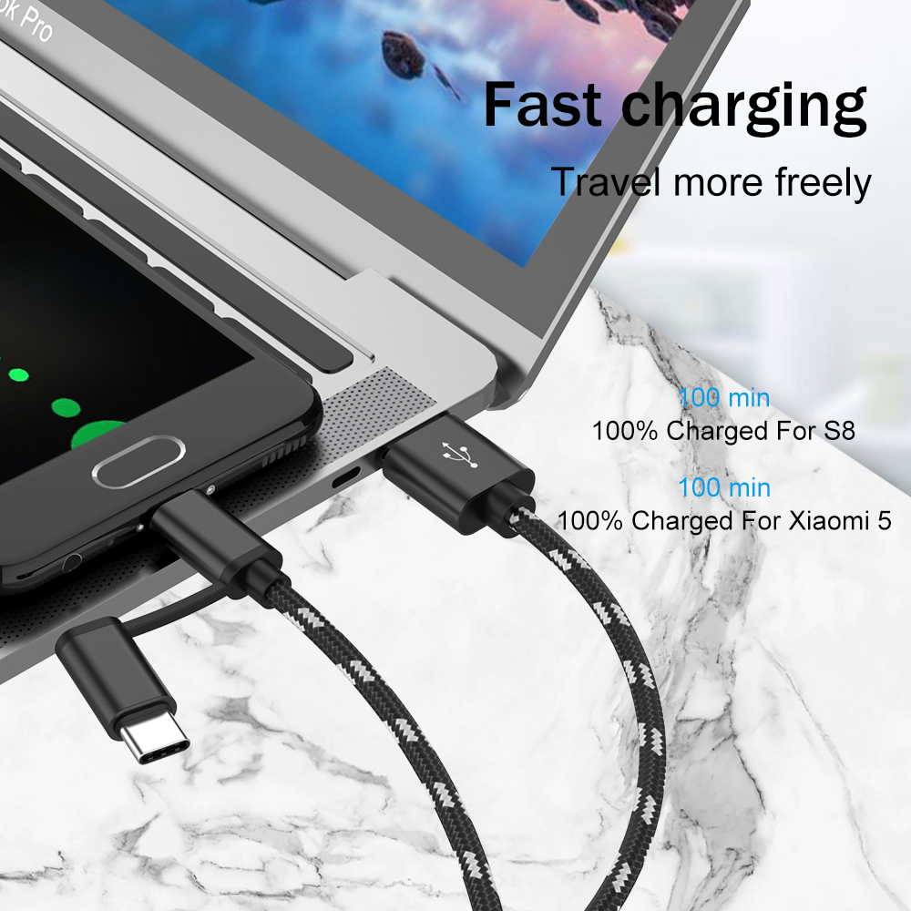 2 in 1 USB Cable Type C Fast Phone Charging Cable For Samsung S8 S9 Micro