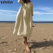 Robe d'automne bohème fête Vestidos VONDA grande taille décontracté couleur unie coton chemise robes S-5XL Robe élégante Femme Robe d'été